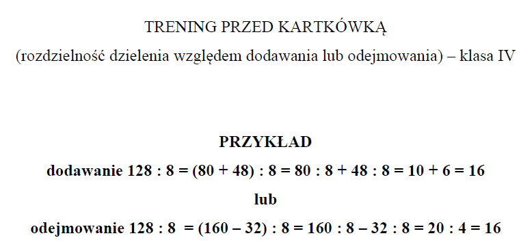 Kartkówka (klasa IV) – Rozdzielność dzielenia