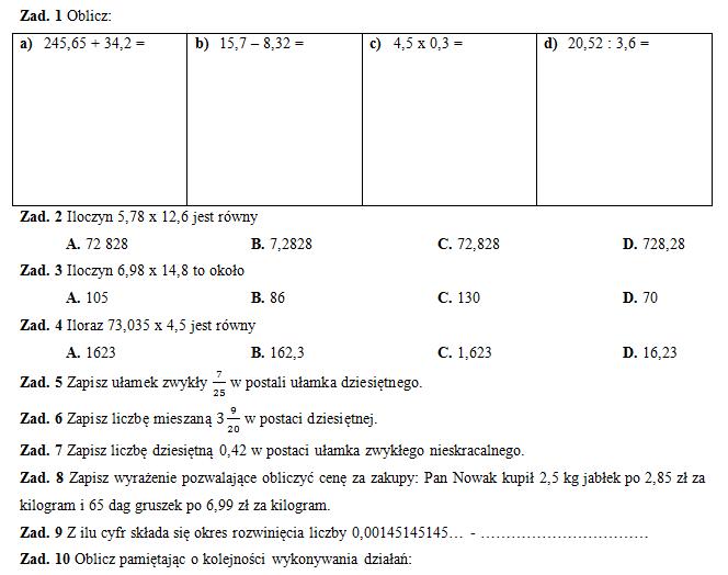 Klasówka 3 (klasa VI) – liczby dziesiętne