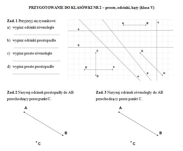 Klasówka 2 (klasa V) – proste, odcinki, kąty