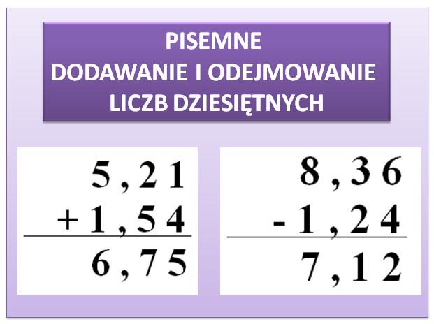 Algorytm pisemnego dodawania i odejmowania liczb dziesiętnych