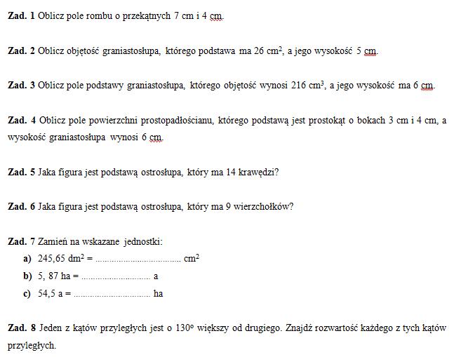 Klasówka 2 (klasa VI) – figury, bryły