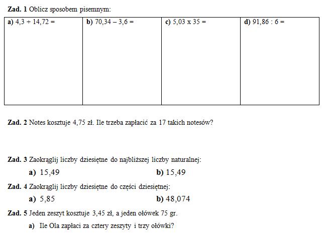 Klasówka 3 (klasa V) – liczby dziesiętne