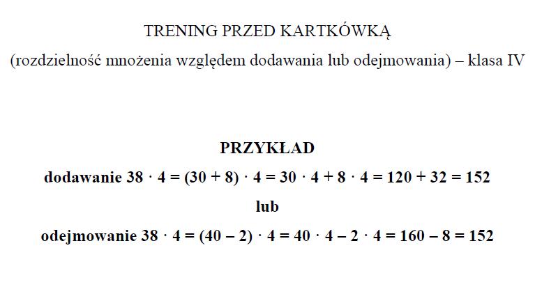 Kartkówka (klasa IV) – Rozdzielność mnożenia
